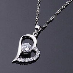 Sale New Silver Heart Shape Crystal Necklace